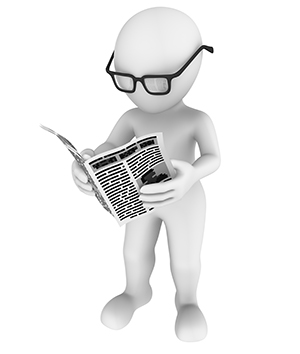 A 3D White Character with black gasses reading a newspaper.
