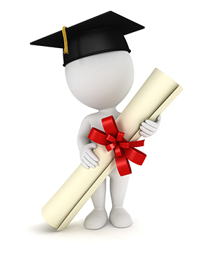 A 3D Character with graduation cap and holding a diploma.