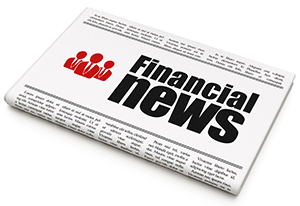 "A Newspaper with a headline text that says ""Financial News""."