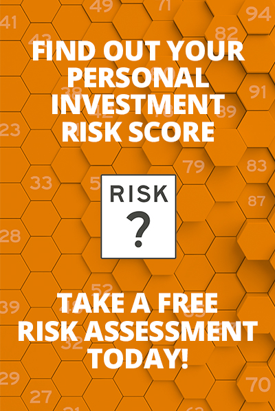 "Vertical Rectangle Box Image with orange background and white text stating ""Find Out Your Personal Investment Risk Score"", ""Take a Free Risk Assessment Today!"""