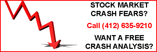 "Rectangle banner image with a red arrow pointing downward stating ""Stock Market Crash Fears?"" ""Want A Free Crash Analysis?"".  Phone number also included."