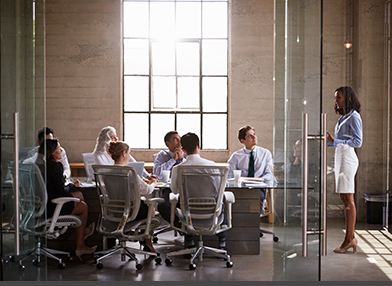 A Female Executive making a presentation to other executives in a board room with glass doors.