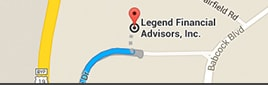 Map showing directions to Legend Financial Advisors, Inc.®