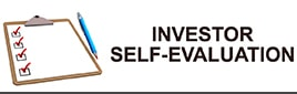 Blank white and brown clipboard with blue pencil and four red check marks on a white background with text to the right stating Investor Self Evaluation.
