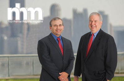 North Hills Magazine Cover Story picture including North Hills Magazine logo and Legend's Jim Holtzman and Lou Stanasolovich standing in front of Pittsburgh's skyline.